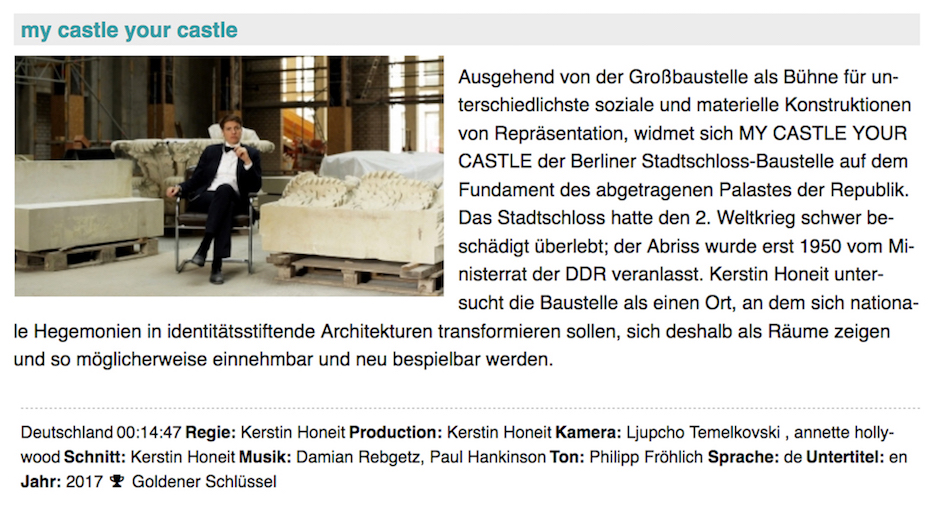Kerstin Honeit – News: Screening Kassel, Köln: my castle your castle